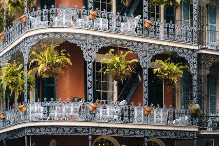 Balconies in the French Quarter, in New Orleans, Louisiana. Stock Photo