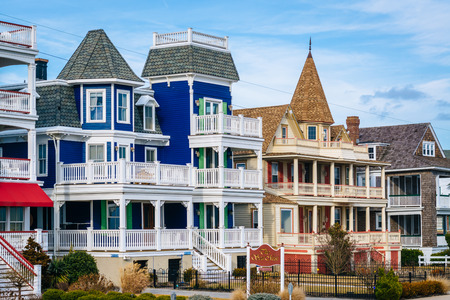 Houses along Beach Avenue, in Cape May, New Jersey.