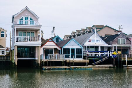 Houses along Cape May Harbor, in Cape May, New Jersey.
