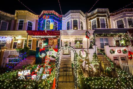 stock photo the miracle on 34th street christmas lights at night in hampden baltimore maryland - Hampden Christmas Lights