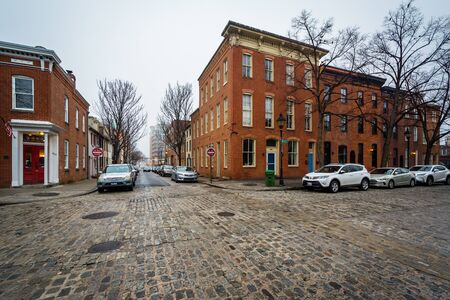 Rowhouses along Bond Street, in Fells Point, Baltimore, Maryland.