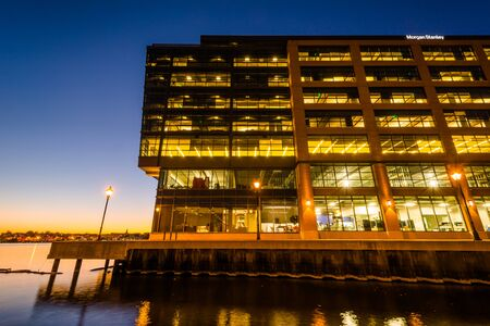Modern building at night in Fells Point, Baltimore, Maryland.