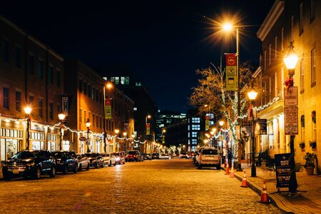 Thames Street at night, in Fells Point, Baltimore, Maryland. Editorial