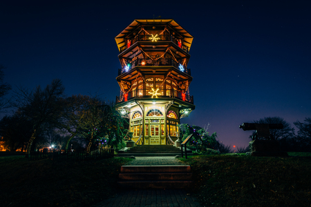 maryland: Christmas decorations on the Patterson Park Pagoda at night, in Baltimore, Maryland.
