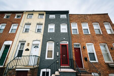rowhouses: Rowhouses in Federal Hill, in Baltimore, Maryland. Editorial