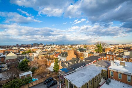 View of houses in Fells Point, Baltimore, Maryland. Stock Photo