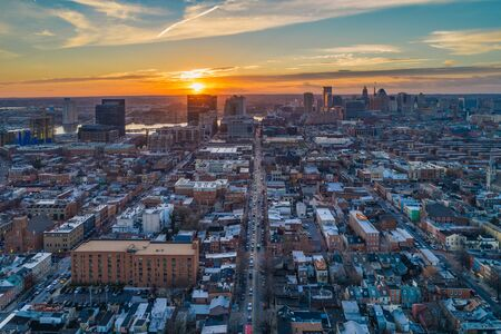 Aerial view of Fells Point at sunset, in Baltimore, Maryland.