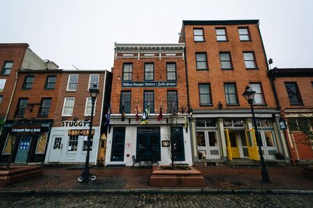 Buildings at Broadway Square, in Fells Point, Baltimore, Maryland. Editorial