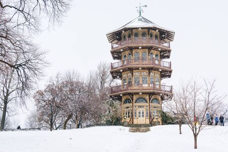The Patterson Park Pagoda in the snow, in Baltimore, Maryland.