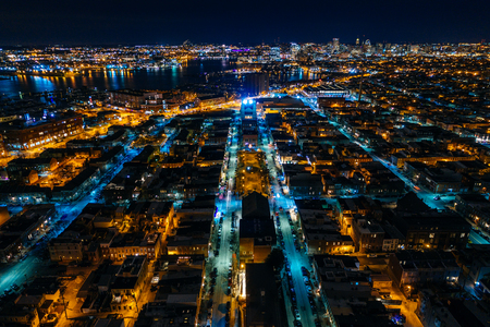 Aerial view of Canton at night, in Baltimore, Maryland. Editorial