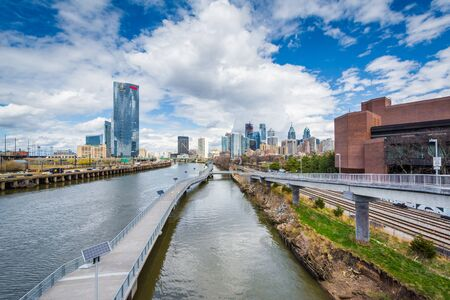 The Schuylkill River and skyline seen from the South Street Bridge, in Philadelphia, Pennsylvania.
