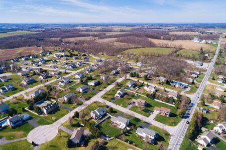 Aerial view of suburban housing developments in Shrewsbury, Pennsylvania.