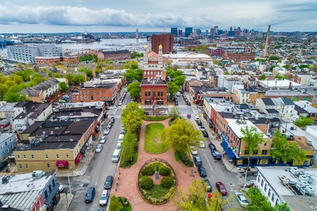 Aerial view of ODonnell Square in Canton, Baltimore, Maryland. Stock Photo
