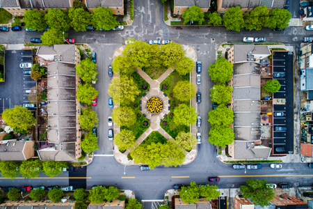 townhomes: Aerial view of townhomes and a small park in Canton, Baltimore, Maryland.