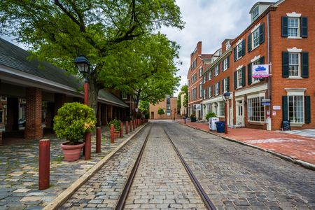 Brick buildings and cobblestone street at Head House Square, in Society Hill, Philadelphia, Pennsylvania. Editorial