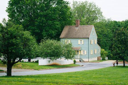 House and street in Old Salem, Winston-Salem, North Carolina. Stock Photo