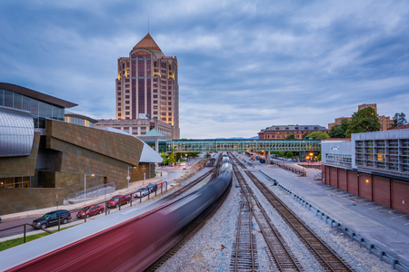 View of railroad tracks and buildings in downtown Roanoke, Virginia.