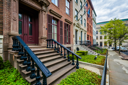 rowhouses: Brick rowhouses on Elk Street in Albany, New York. Stock Photo