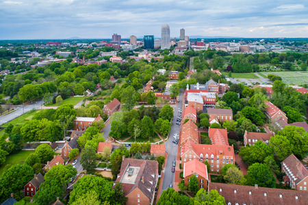 View of Old Salem and downtown Winston-Salem, North Carolina.