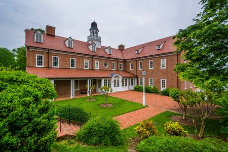 Historic brick building at Salem College, in Old Salem, Winston-Salem, North Carolina.