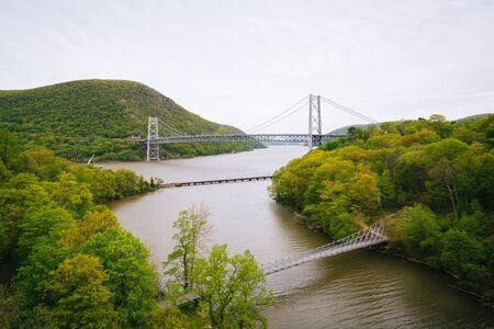 View of Bear Mountain Bridge and the Hudson River, at Bear Mountain State Park, New York. Stock Photo