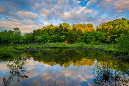 maryland: Lake Needwood at sunset, at Upper Rock Creek Park in Derwood, Maryland. Stock Photo
