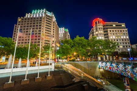 bethesda: Modern buildings and metro station at night, in downtown Bethesda, Maryland. Stock Photo