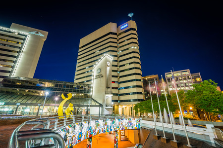 Modern buildings and metro station at night, in downtown Bethesda, Maryland. Editorial