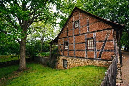 Historic brick building in Old Salem, in Winston-Salem, North Carolina.