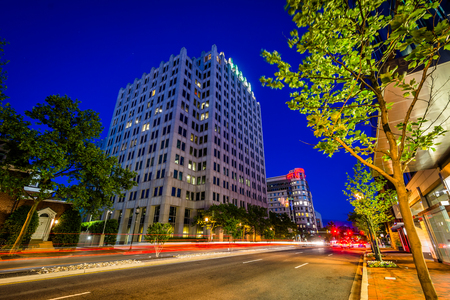 bethesda: Wisconsin Avenue at night, in downtown Bethesda, Maryland.