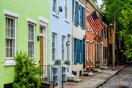 Colorful row houses along Panama Street near Filter Square, Philadelphia, Pennsylvania. Stock Photo - 79399710