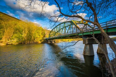 Bridge over the Connecticut River, in Brattleboro, Vermont. Stock Photo