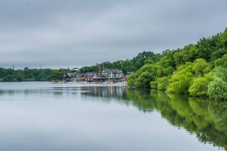 Boathouse Row, along the Schuylkill River, in Philadelphia, Pennsylvania. Stock Photo