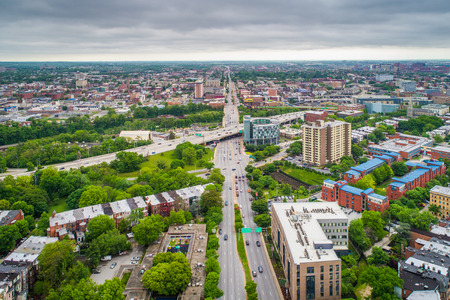 View of North Avenue in Bolton Hill, Baltimore, Maryland. Stock fotó