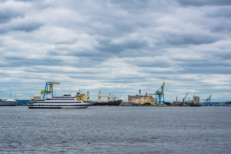View of a port along the Delaware River, from Penns Landing in Philadelphia, Pennsylvania.