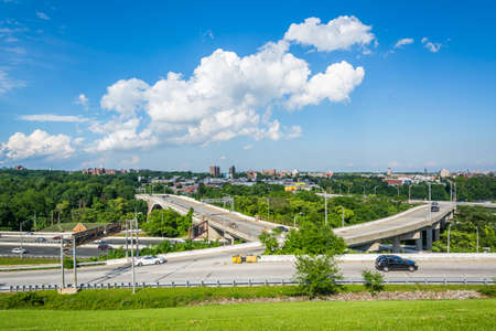 druid: View of the Jones Falls Expressway from Druid Hill Park, in Baltimore, Maryland.