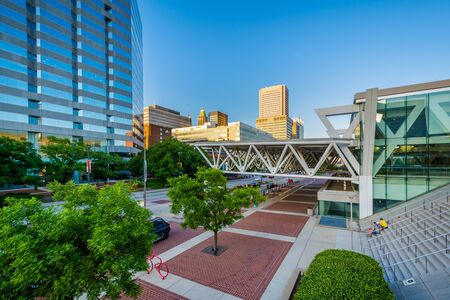The Convention Center and modern buildings along Pratt Street in downtown Baltimore, Maryland.