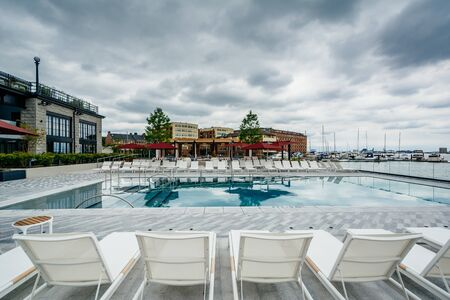 The pool at the Sagamore Pendry Hotel in Fells Point, Baltimore, Maryland. Editorial