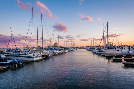 Sunset over a marina in Canton, Baltimore, Maryland