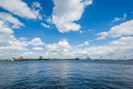 The Delaware River in Penns Landing, Philadelphia, Pennsylvania.