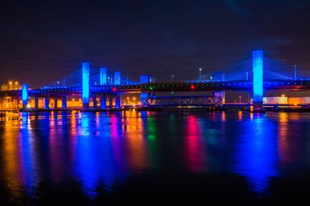 The Pearl Harbor Memorial Bridge at night in New Haven, Connecticut