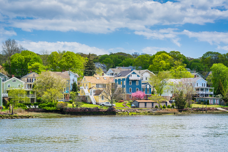 View of Fair Haven Heights, and the Quinnipiac River in New Haven, Connecticut Stock Photo