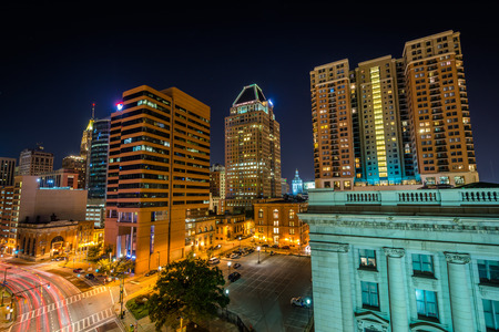 Lombard Street at night, in downtown Baltimore, Maryland