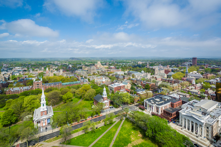 Vue sur le New Haven Green et le centre-ville, à New Haven, Connecticut