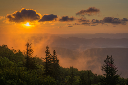 Sunrise view from Bear Rocks Preserve in Dolly Sods Wilderness, Monongahela National Forest, West Virginia.