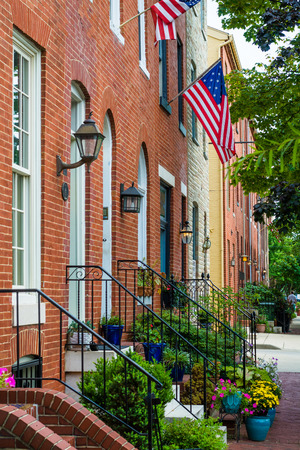 Brick row houses along Williams Street in Federal Hill, Baltimore, Maryland