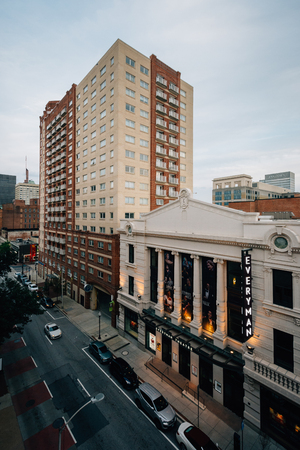 A view of buildings on Fayette Street, in downtown  Baltimore, Maryland