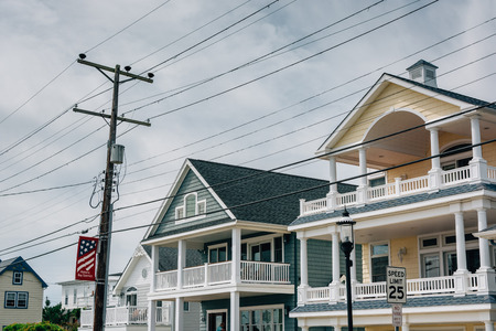 Houses on Bay Avenue in Somers Point, New Jersey. Stok Fotoğraf