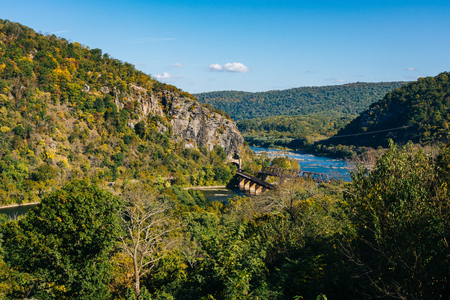 View of Maryland Heights and the Potomac River in Harpers Ferry, West Virginia