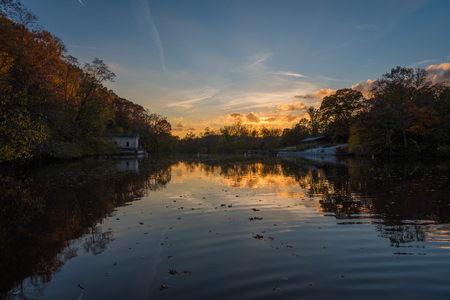 Sunset at Lake Roland at Robert E. Lee Park in Baltimore, Maryland Stock Photo